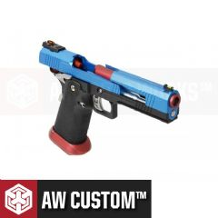 AW Custom HX1005 2Tone Hi-Capa GBB Airsoft Pistol (Blue Split Slide & Red Barrel)